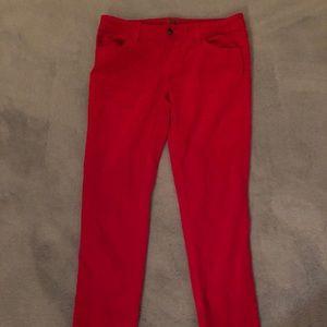 Bright red velvet men's jeans